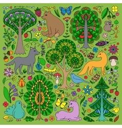 Wonderland fun forest vector