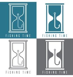 Concept with fishing hook and sandglass vector