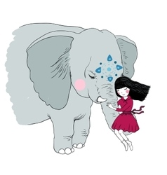 Beautiful girl and the elephant vector