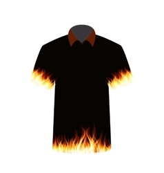 Black t-shirt with the image of fire vector