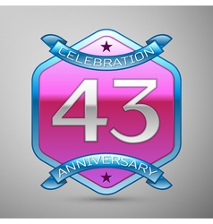 Forty three years anniversary celebration silver vector
