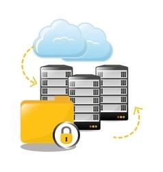 Lock archived folders data center related vector