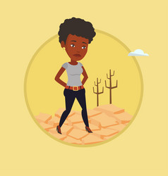 sad woman in the desert vector image