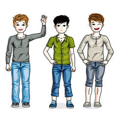 Young teen boys cute children group standing in vector