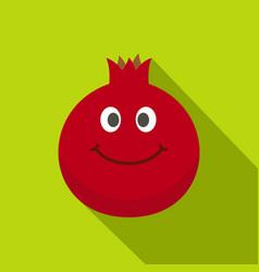 ripe smiling pomegranate fruit icon flat style vector image