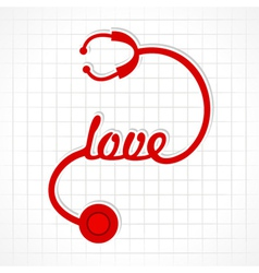 Stethoscope make love word vector