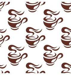 Steaming cup of espresso coffee seamless pattern vector
