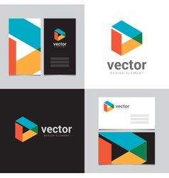 Logo design element with two business cards - 08 vector