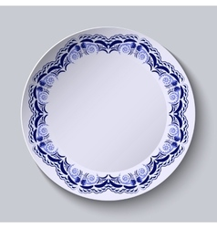Blue floral pattern on the rim of the plate vector