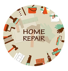 Home repair emblem working tools icons vector
