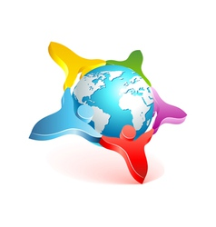 people world 3d icon vector image