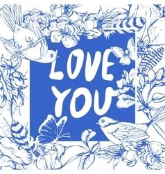 Blue vintage garden spring greeting card vector image