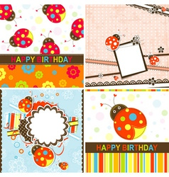 Ladybug birthday cards set vector
