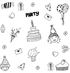Set of celebratory icons in doodle style vector