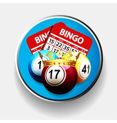 Bingo king and cards over metallic border vector