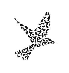 Birds silhouettes group vector