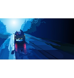 Car pick up goes on night road vector image vector image