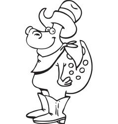 Cartoon Dinosaur Cowboy vector image vector image
