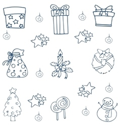 Christmas element with hand draw doodle vector