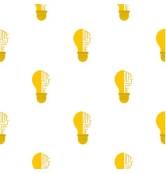 Circuit board inside light bulb pattern flat vector