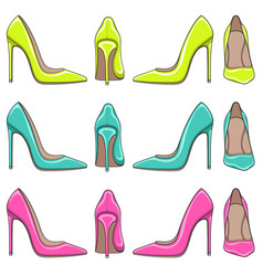 Color illuminations of female classical shoes vector
