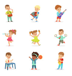 Cute children dancing and playing musical vector