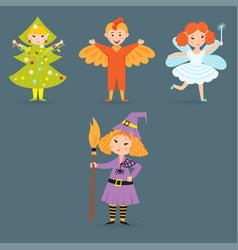 Cute kids wearing christmas costumes vector