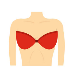 female breast in a red bra icon flat style vector image