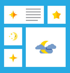Flat icon bedtime set of asterisk midnight star vector