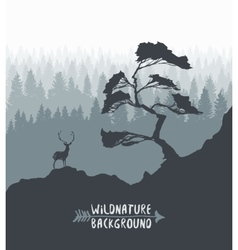 Forest pine tree deer silhouette drawn vector
