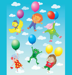 Funny animals flying on balloons vector