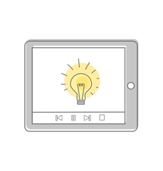 Lamp isolated on tablet screen video marketing vector