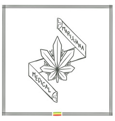 Medical marijuana logo black one vector