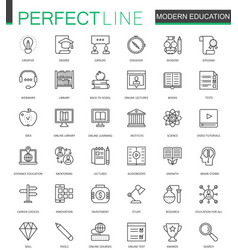 modern education thin line web icons set online vector image vector image