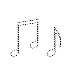 Music notes sign black dashed icon on vector