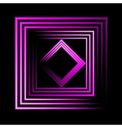 Purple neon square background vector