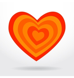 Red orange striped heart on white background vector image vector image