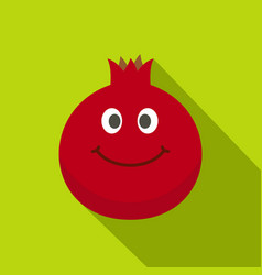 Ripe smiling pomegranate fruit icon flat style vector