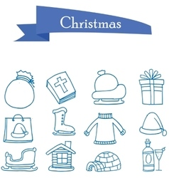 Set of holiday christmas icons vector