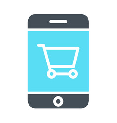 smartphone with shopping cart icon pictogram vector image vector image