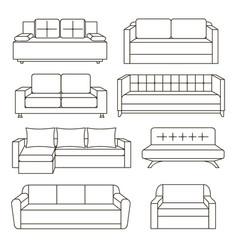 sofa icon set vector image