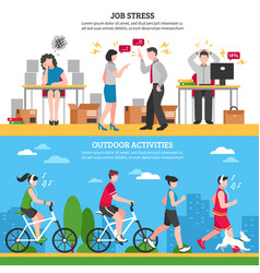 stress and relaxation banners vector image vector image