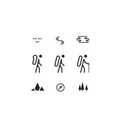 Trail flat icons nordic walking sport orienteering vector