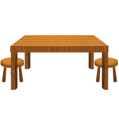 Wooden table and stools on white background vector