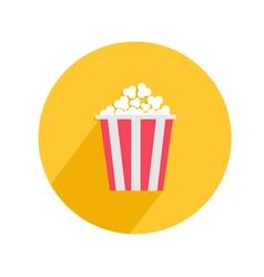 Popcorn round circle icon in flat design style big vector