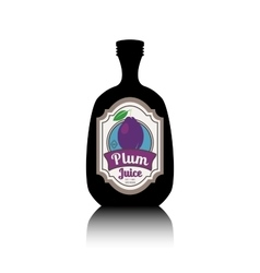 Black bottle with fruit label vector