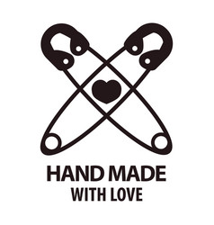 Handmade with love logotype design of two crossed vector