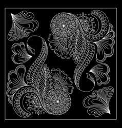 Black and white floral bandana print vector