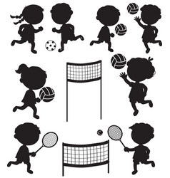 Eight sportive kids black silhouettes vector