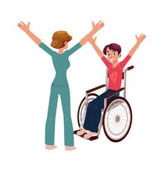 Medical rehabilitation wheelchair gymnastics vector
